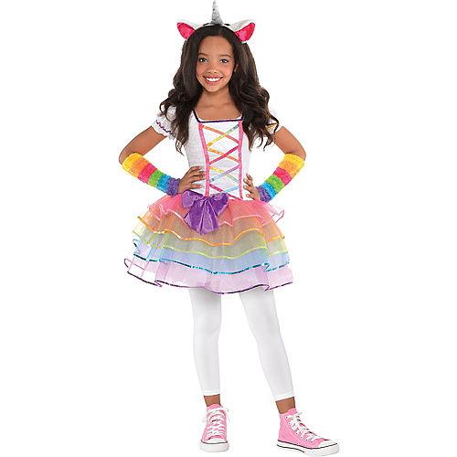 Girls Rainbow Unicorn Costume Image #1