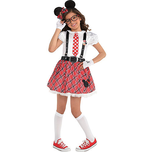 Girls Minnie Mouse Nerd Costume Image #1