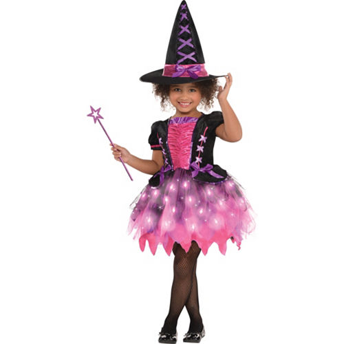 Girls Light-Up Sparkle Witch Costume Image #1
