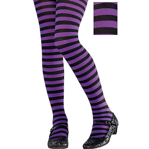 Child Purple & Black Striped Tights Image #1