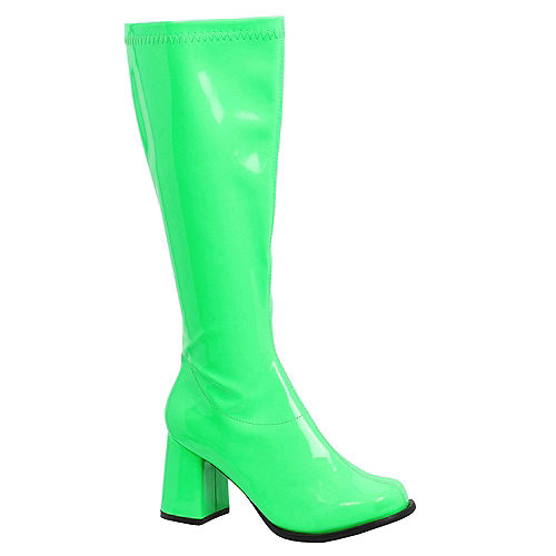 Adult Neon Green Go-Go Boots Image #1