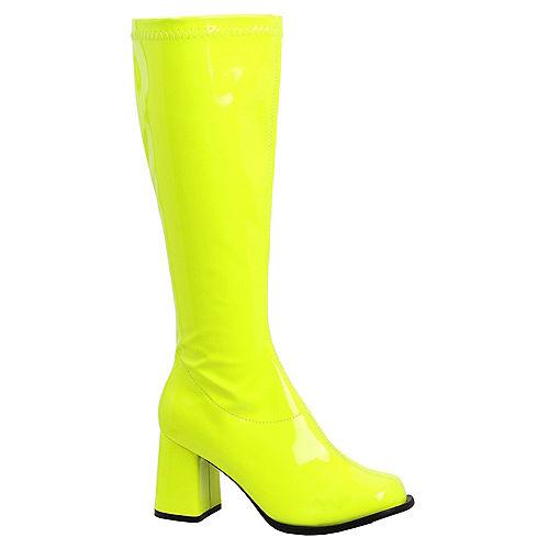 Adult Neon Yellow Go-Go Boots Image #1