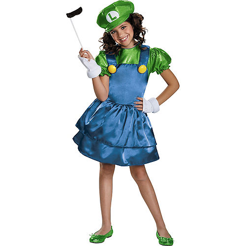 Girls Miss Luigi Costume - Super Mario Brothers Image #1