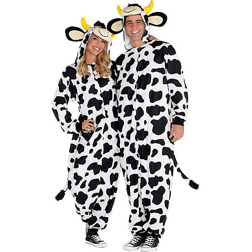 Adult Zipster Cow One Piece Costume Image #1