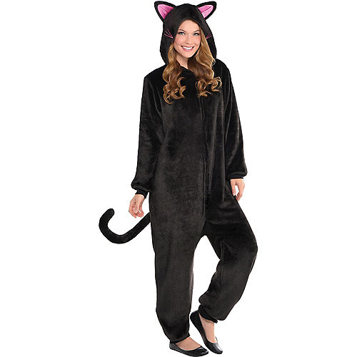 Adult Zipster Black Cat One Piece Costume Image #1