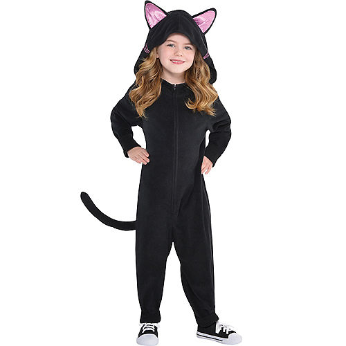 Toddler Girls Zipster Black Cat One Piece Costume Image #1