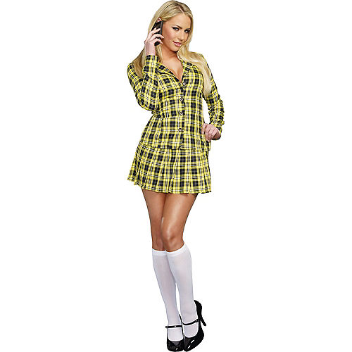 Adult Fancy Yellow Plaid School Girl Costume Image #1