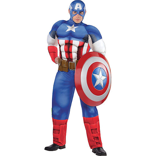 Adult Captain America Muscle Costume Plus Size Image #1