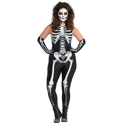 Adult Bone-A-Fied Babe Skeleton Costume Plus Size Image #1