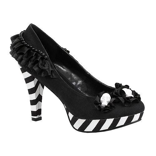 Black & White Platform High Heel Shoes - Day of the Dead Image #1