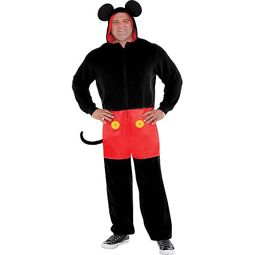 Adult Zipster Mickey Mouse One Piece Costume Plus Size Image #1