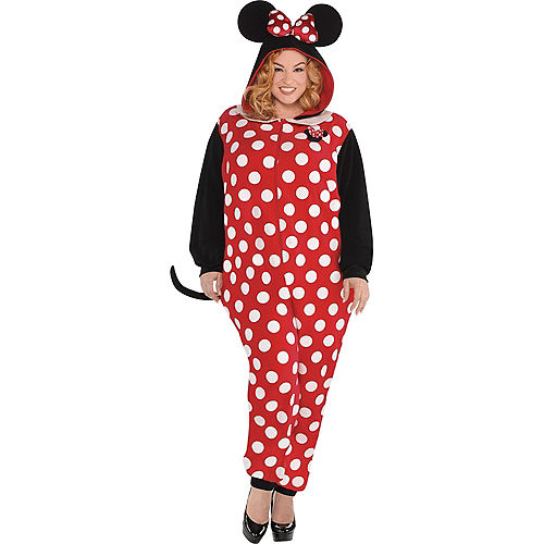Adult Zipster Minnie Mouse One Piece Costume Plus Size Image #1