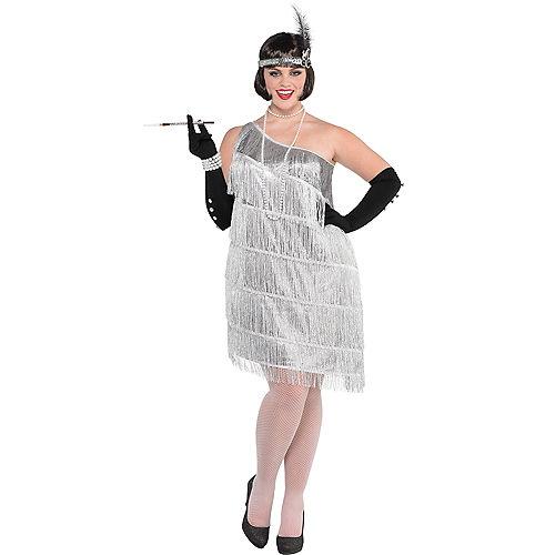 Adult Sparkling Silver Flapper Costume Plus Size Image #1