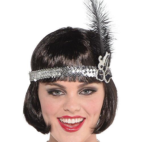 Adult Sparkling Silver Flapper Costume Plus Size Image #2