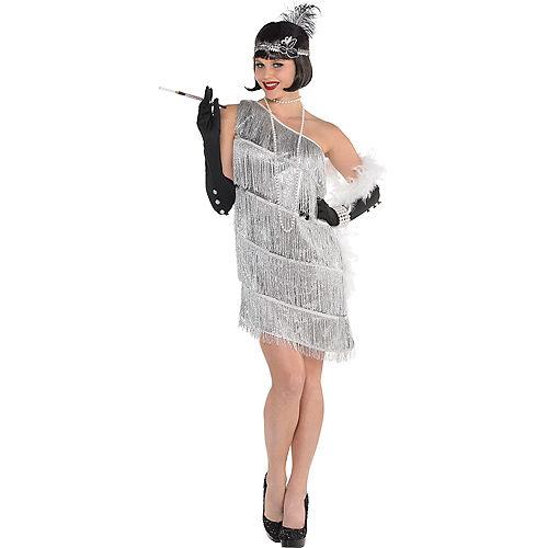 Adult Sparkling Silver Flapper Costume Image #1
