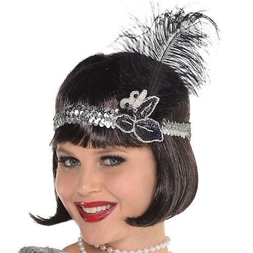 Adult Sparkling Silver Flapper Costume Image #2