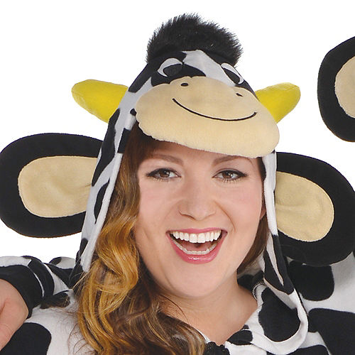 Adult Zipster Cow One Piece Costume Plus Size Image #2