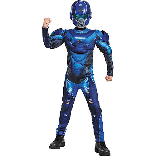 Boys Blue Spartan Muscle Costume - Halo Image #1