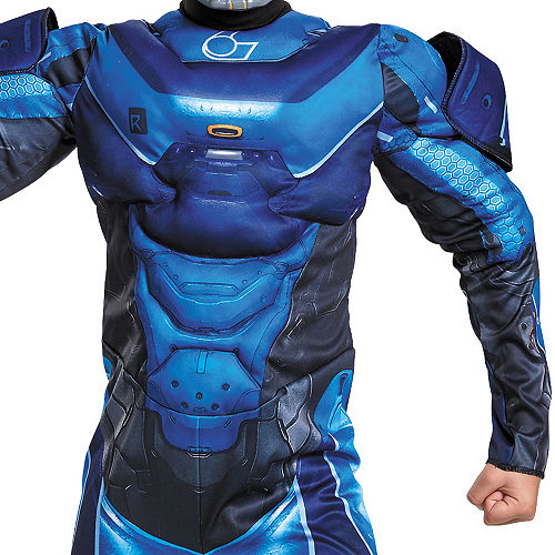 Boys Blue Spartan Muscle Costume - Halo Image #3