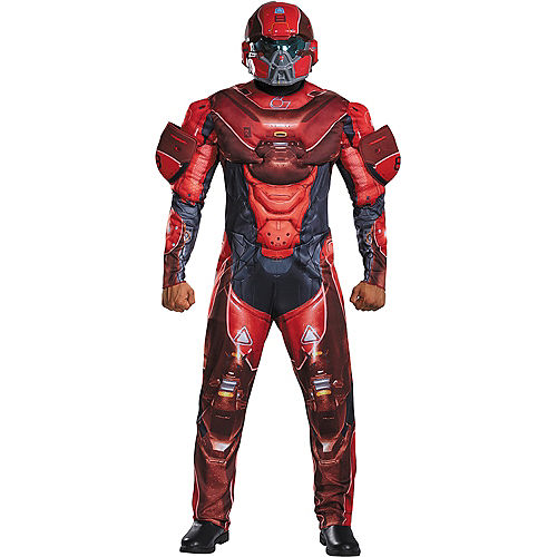Adult Red Spartan Muscle Costume Plus Size - Halo Image #1