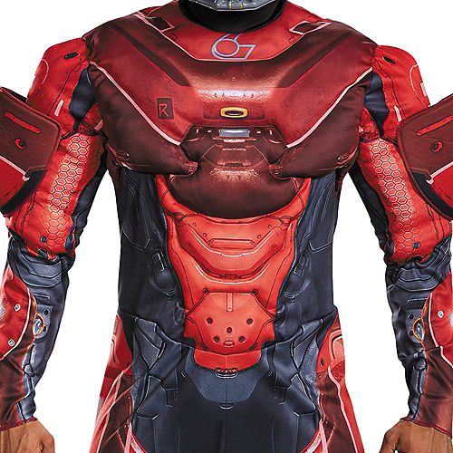 Adult Red Spartan Muscle Costume Plus Size - Halo Image #3
