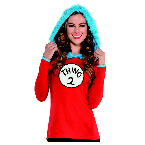 Adult Thing 1 & Thing 2 Hooded Long-Sleeve Shirt - Dr. Seuss Image #1