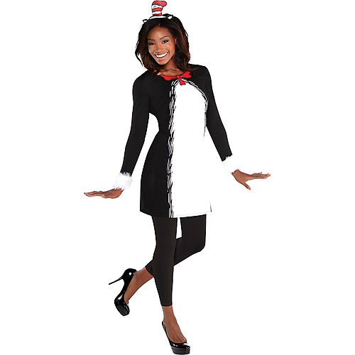 Adult Cat in the Hat Long-Sleeve Dress - Dr. Seuss Image #1