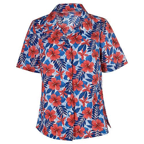 Womens Red, White & Blue Hibiscus Hawaiian Shirt Image #1