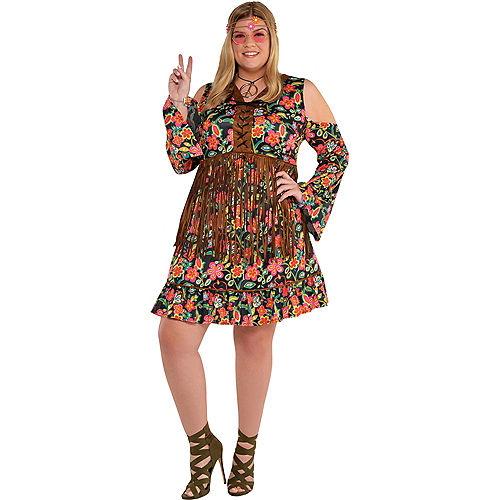 Adult Flower Power Hippie Costume Plus Size Image #1