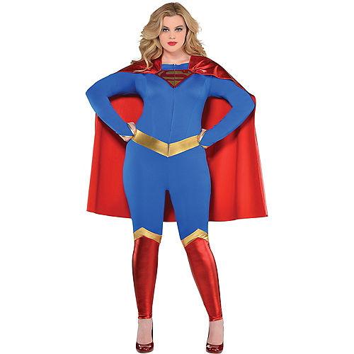 Adult Supergirl Jumpsuit Costume Plus Size - Superman Image #1