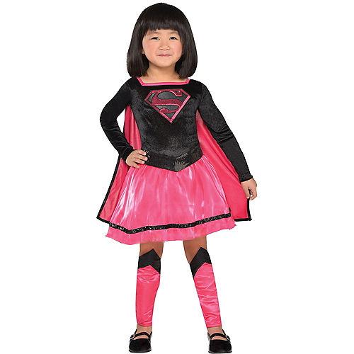 Toddler Girls Pink Supergirl Dress Costume - Superman Image #1