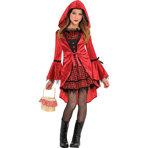 Girls Gothic Red Riding Hood Costume Image #1