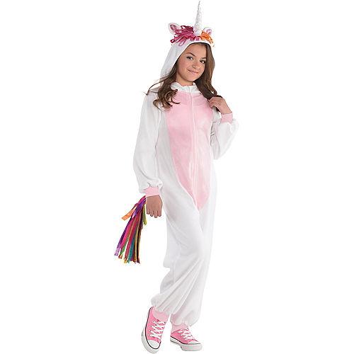 Girls Zipster Unicorn One Piece Costume Image #1