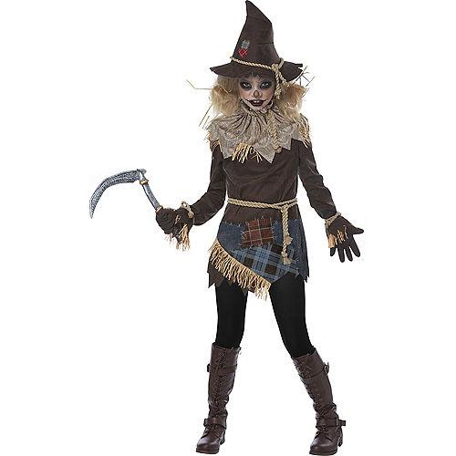 Girls Creepy Scarecrow Costume Image #1