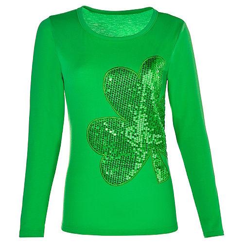 Adult Sequin Shamrock Long-Sleeve Shirt Image #1
