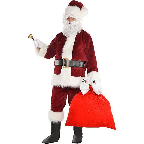 Adult Dark Red Santa Suit Costume Kit Image #1