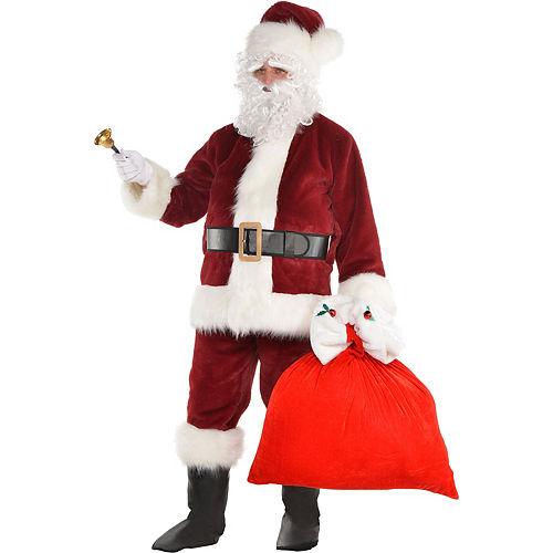 Adult Dark Red Santa Suit Costume Kit Image #2