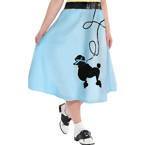 Adult Light Blue 50s Poodle Skirt Plus Size Image #1