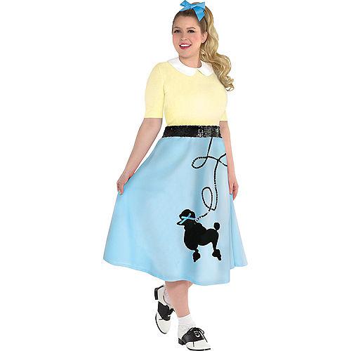 Adult Light Blue 50s Poodle Skirt Plus Size Image #2