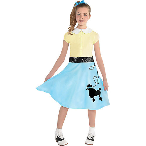 Child Light Blue 50s Poodle Skirt Image #2