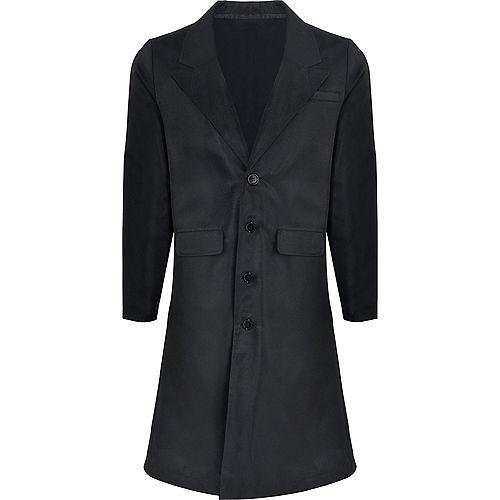 Adult Black Trench Coat Image #2