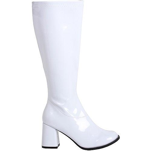 Womens White Go-Go Boots Image #1