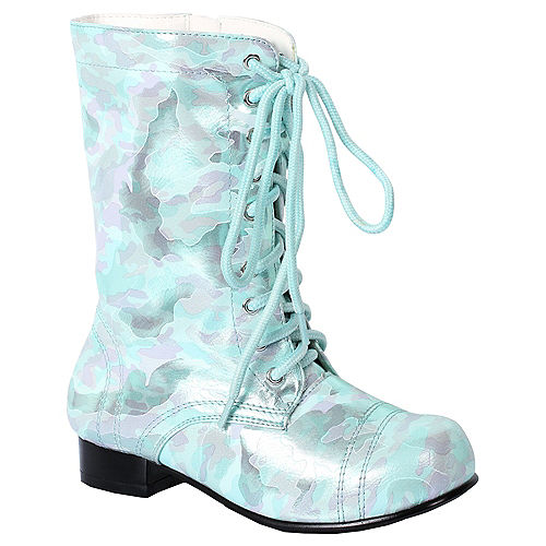 Girls Teal Viva Combat Boots Image #1