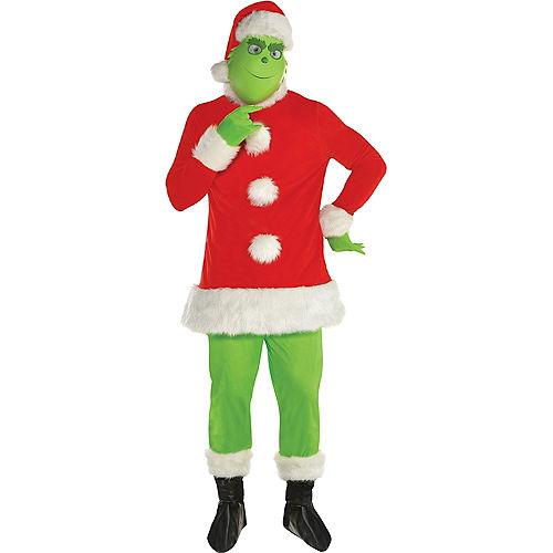 Adult Grinch Santa Costume Image #1