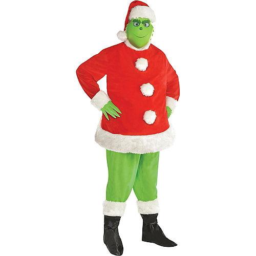 Adult Grinch Santa Costume Plus Size Image #1