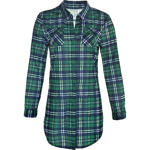 Womens Green Plaid Long-Sleeve Shirt Image #2