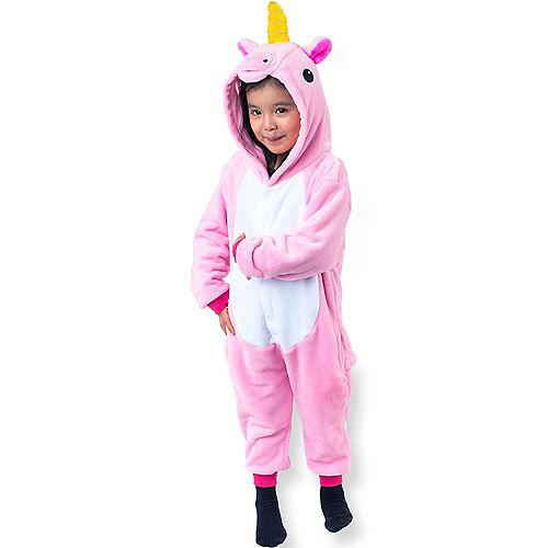 Child Zipster Pink Unicorn One Piece Costume Image #1