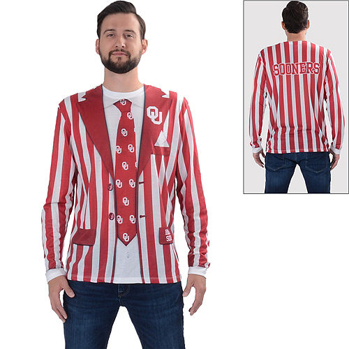 Mens Oklahoma Sooners Striped Suit Long-Sleeve Shirt Image #1