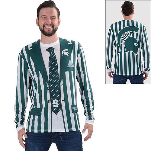 Mens Michigan State Spartans Striped Suit Long-Sleeve Shirt Image #1