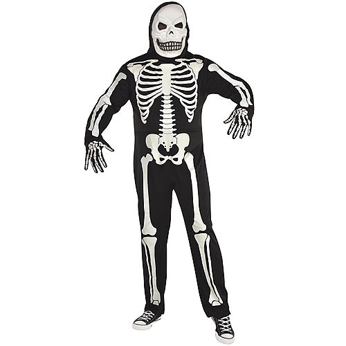 Adult Glow-in-the-Dark X-Ray Skeleton Costume Plus Size Image #1